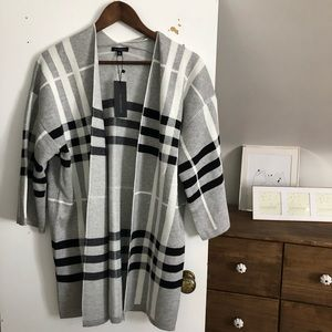 Dynamite Open Front Checkered Cardigan